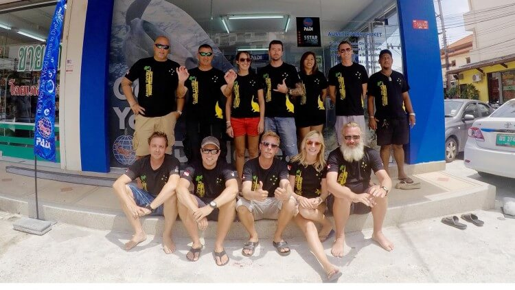 Aussie Divers Phuket staff out front of Patong Dive shop